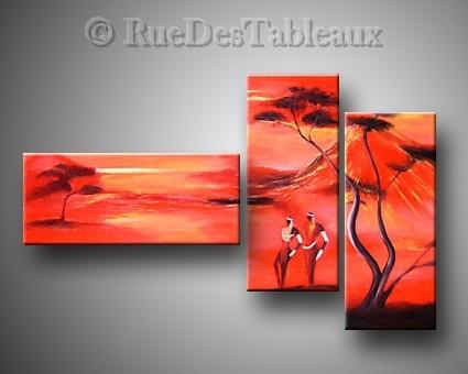 Les feux du kilimandjaro - tableau peint-main peinture à l'huile