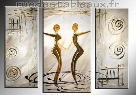 Rencontre - tableau peint-main peinture à l'huile