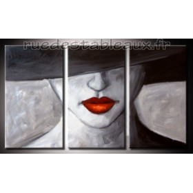 Femme mystérieuse - tableau peint-main peinture à l'huile