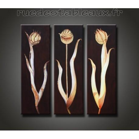 Fleurs flamboyantes - tableau peint-main peinture à l'huile