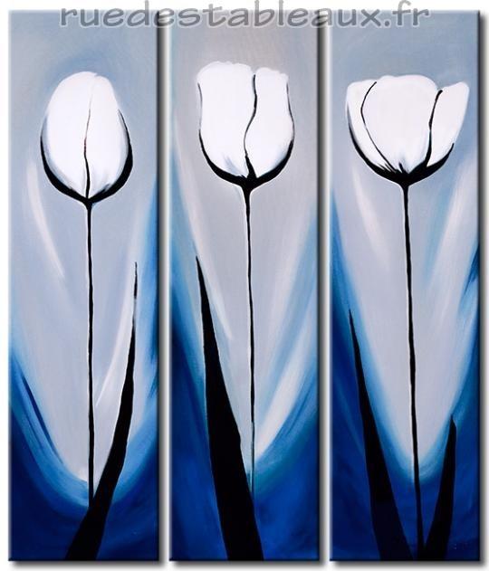 Trio de tulipes - tableau peint-main peinture à l'huile