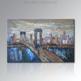 Pont suspendu - tableau peint-main peinture à l'huile