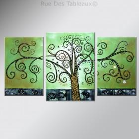 L'Arbre à spirales - tableau peint-main peinture à l'huile