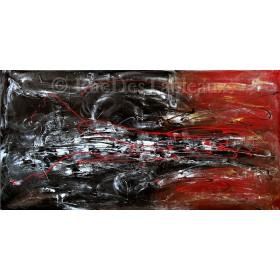 Fleuve rougissant - tableau peint-main peinture à l'huile