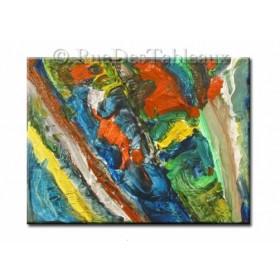 Prairie colorée - tableau peint-main peinture à l'huile
