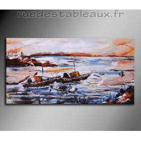 Embarcations sur les flots - tableau peint-main peinture à l'huile