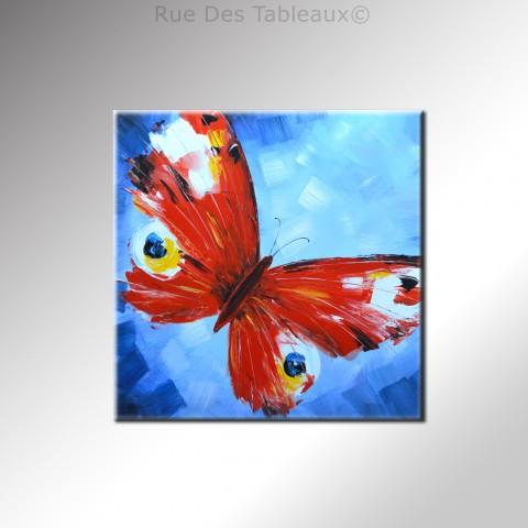 Vole papillon - tableau peint-main peinture à l'huile