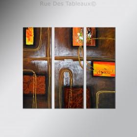 Echange de carrés - tableau peint-main peinture à l'huile