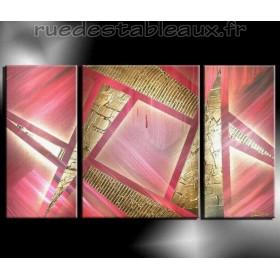 Pink géométrie - tableau peint-main peinture à l'huile