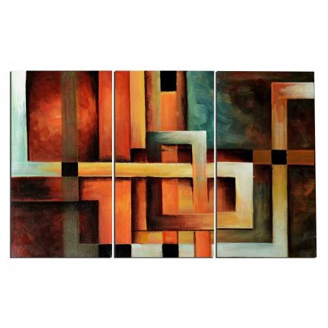 Géométrie entrelacée - tableau peint-main peinture à l'huile