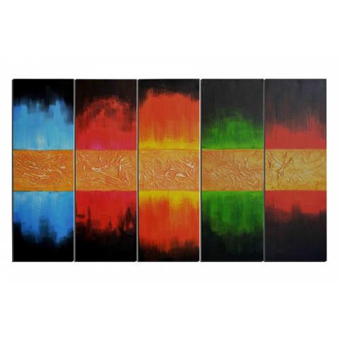 Totem en couleurs - tableau peint-main peinture à l'huile