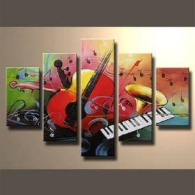 Orchestre musical - tableau peint-main peinture à l'huile