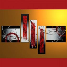 En rouge et noir - tableau peint-main peinture à l'huile