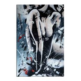 Avec pudeur - tableau peint-main peinture à l'huile