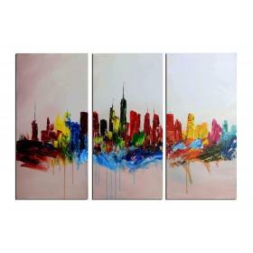 Ville haute en couleur - tableau peint-main peinture à l'huile
