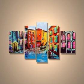 Charmant Venise En Facette   Tableau Peint Main Peinture à Lu0027huile