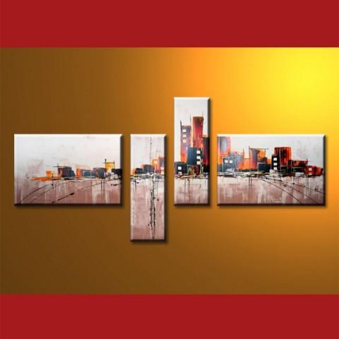 La ville et ses couleurs - tableau peint-main peinture à l'huile