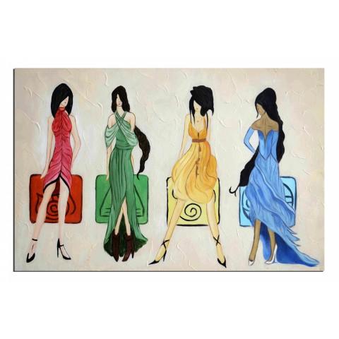 Défilé de mode - tableau peint-main peinture à l'huile