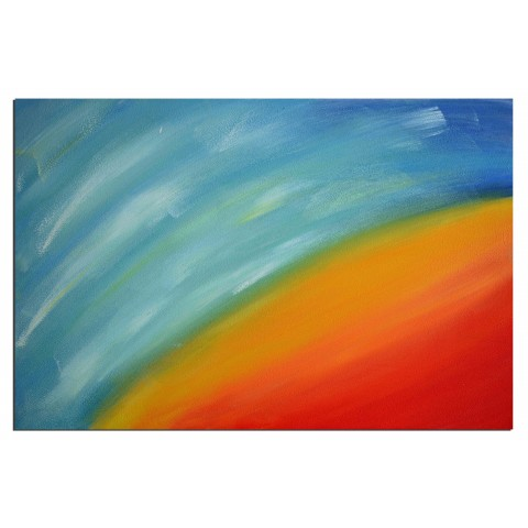 Du rouge au bleu - tableau peint-main peinture à l'huile