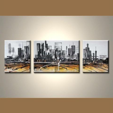 Mirage urbain - tableau peint-main peinture à l'huile