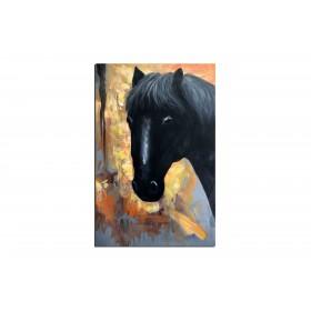 Cheval noir - tableau peint-main peinture à l'huile