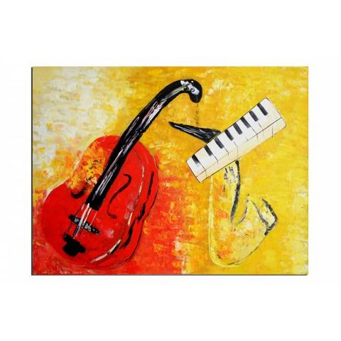 Trio musical - tableau peint-main peinture à l'huile