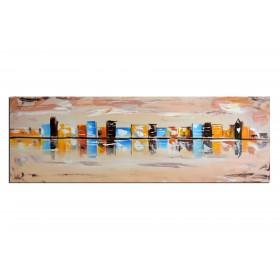 Cliché de ville - tableau peint-main peinture à l'huile