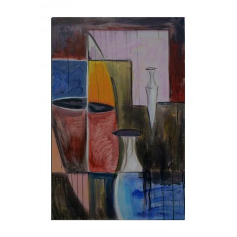 Poterie africaine - tableau peint-main peinture à l'huile