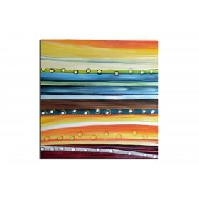 Bulles et lignes - tableau peint-main peinture à l'huile