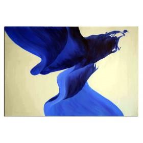 Panache bleu - tableau peint-main peinture à l'huile