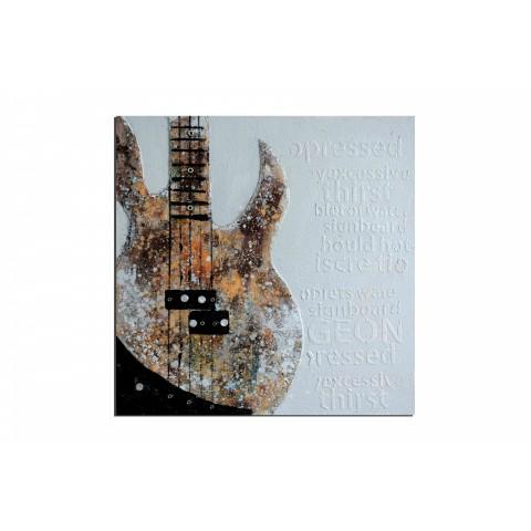 Guitare vintage - tableau peint-main peinture à l'huile
