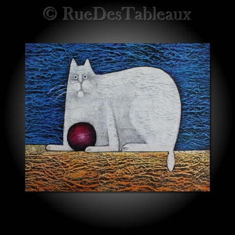 Le chat à la pelote - tableau peint-main peinture à l'huile