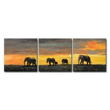 Promenade des éléphants - tableau peint-main peinture à l'huile