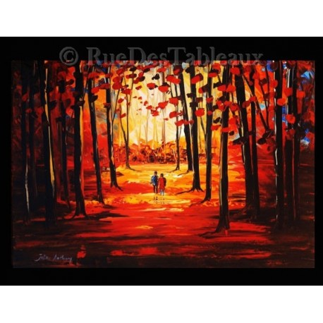 Bois pourpres - tableau peint-main peinture à l'huile