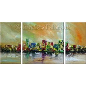 Fantaisies urbaines - tableau peint-main peinture à l'huile