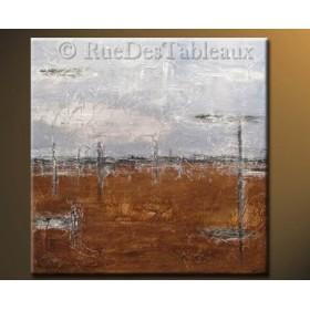 Ciel métallique - tableau peint-main peinture à l'huile